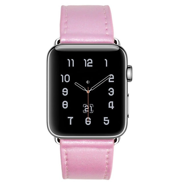100% Genuine Leather Watchband, Band Color - Light Pink