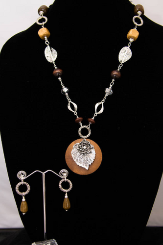 Wooden Disc with Silver Leaf and Glass Crystal Necklace and Earring Set
