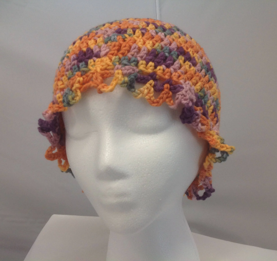 Women's Crocheted Multi-color Beanie Hat