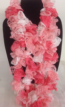 Load image into Gallery viewer, Pink and White Crocheted Ruffled Edged Scarf