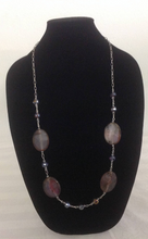 Load image into Gallery viewer, Light Purple and Pink Agates Set with Silver Chain & Purple Glass Crystal Necklace and Earrings