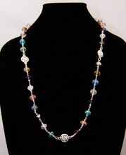 Load image into Gallery viewer, Multi-Color Glass Crystal and Silver Metal Necklace and Earrings
