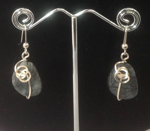 Gray Quartz Stone with Silver Leaf Overlay and Earrings