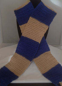 Royal Blue and Biege Crocheted Scarf