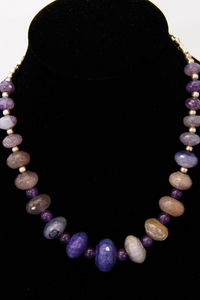 Purple Dragon Vein Agate with Amethyst Necklace and Earring Set
