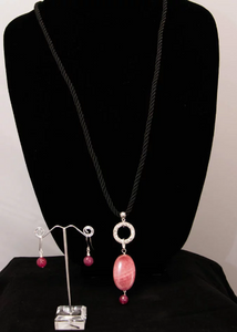 Bright Pink Agate Pendant on Black Cord Necklace with Earrings