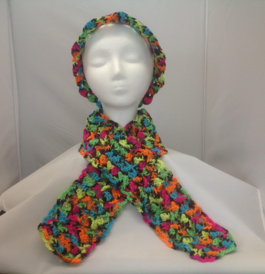 Bright Multi-color Hat and Scarf Set