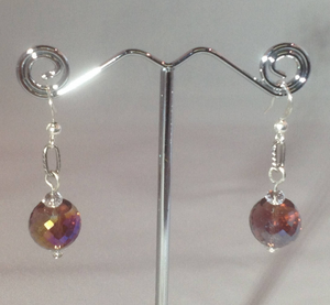 Light Purple and Pink Agates Set with Silver Chain & Purple Glass Crystal Necklace and Earrings
