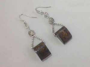 Bronzite Crystal Necklace with Earrings