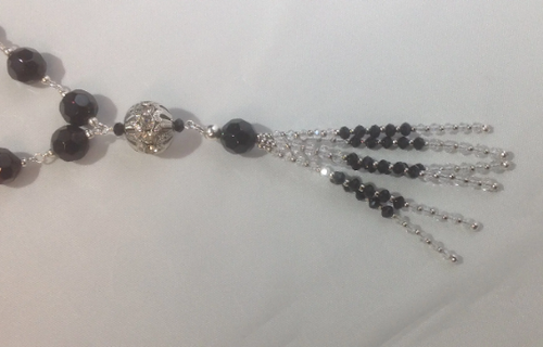 Black and Clear Crystal Tassel Necklace and Earrings