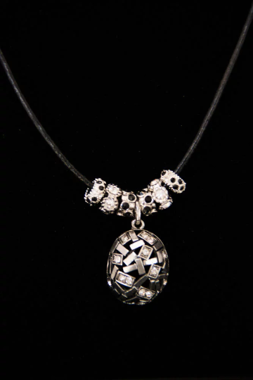 Silver Rhinestone Pendant and Bead Necklace on Black Cord