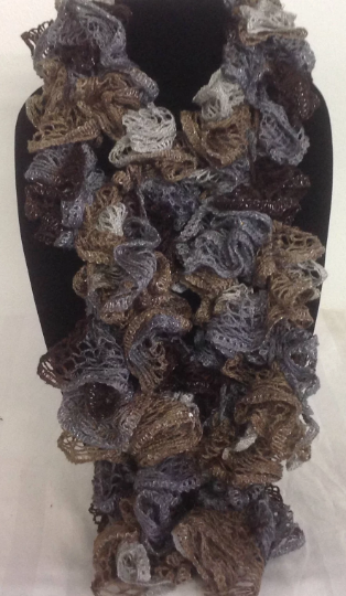Crocheted Ruffle Edged Scarf with metallic Thread