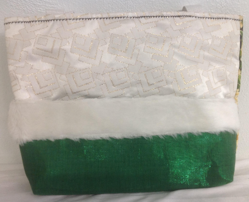 Christmas Tote or Purse Made with Green Metallic Fur Trim Outside Pocket