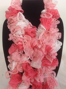Pink and White Crocheted Ruffled Edged Scarf