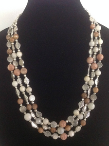 Triple Strand of Natural Stone Agates and Silver Beads