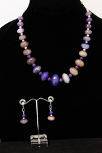 Load image into Gallery viewer, Purple Dragon Vein Agate with Amethyst Necklace and Earring Set
