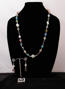 Multi-Color Glass Crystal and Silver Metal Necklace and Earrings