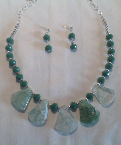 Clear Quartz Stones with Green Inclusions, Green Glass Crystals, and Matching Earrings