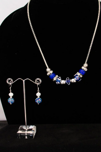 Blue, Silver, and Clear Rhinestone Necklace on Silver Mesh Chain with Earrings