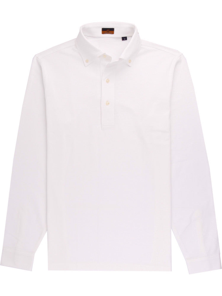 Ascot Chang White Polo Shirt is made with our in-house 100% cotton pique, our polos are cut in a slim fit and feature a button down collar with a deeper placket.  Shirt style collars and cuffs make it the perfect casual piece to wear under a soft-tailored jacket.