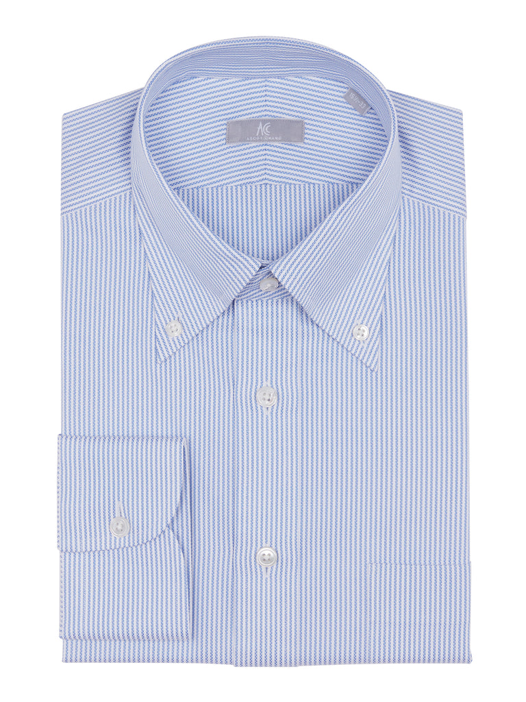 Blue Striped Royal Oxford Shirt is tailored with 2-ply Oxford fabric. Cut in a slim fit and features our #85 button down collar, barrel cuffs and a placket front.