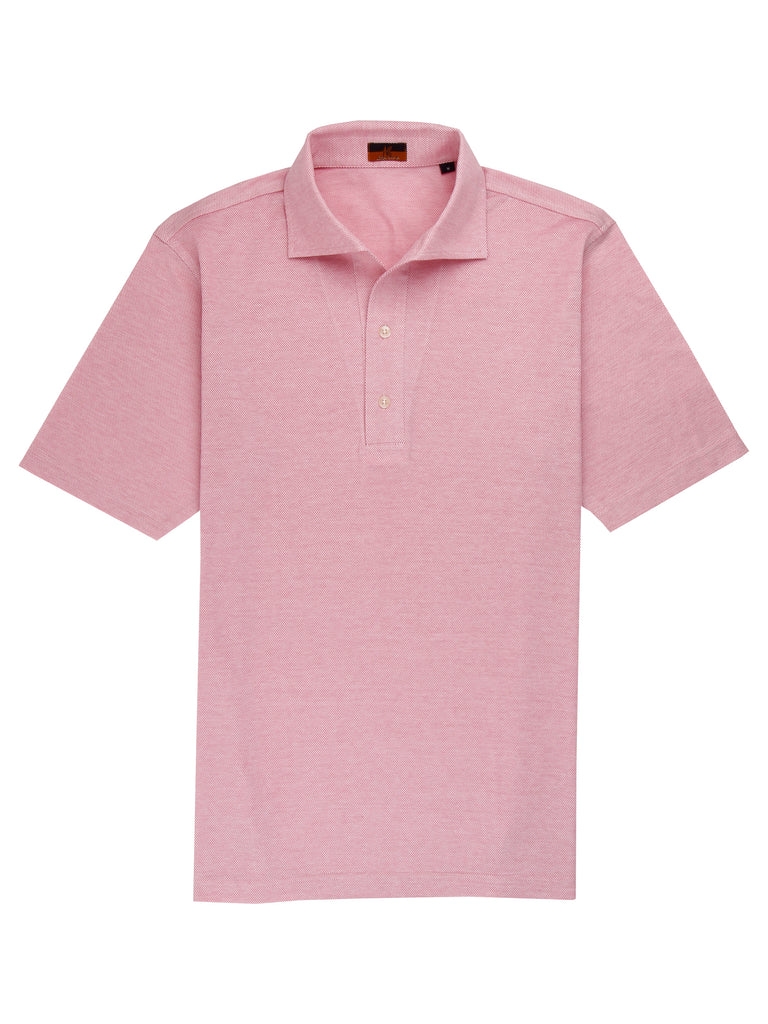 Ascot Chang One Piece Collar Pink Polo is made with our in-house 100% cotton pique, our polos are cut in a slim fit and feature an Italian one piece collar.