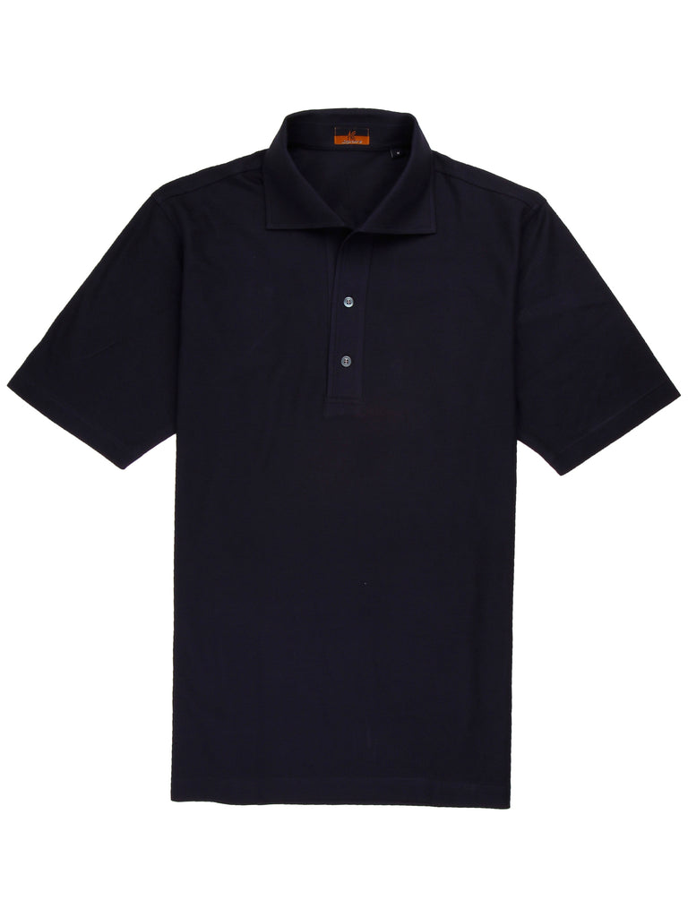 Ascot Chang One Piece Collar Navy Polo is made with our in-house 100% cotton pique, our polos are cut in a slim fit and feature an Italian one piece collar. This specific polo is made with an extra breathable open weave pique.