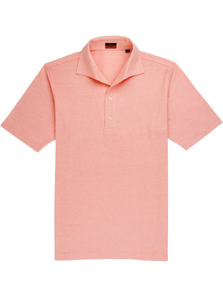 Ascot Chang One Piece Collar Orange Polo is made with our in-house 100% cotton pique, our polos are cut in a slim fit and feature an Italian one piece collar.