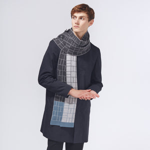 BLOCK SCARF - BLUE