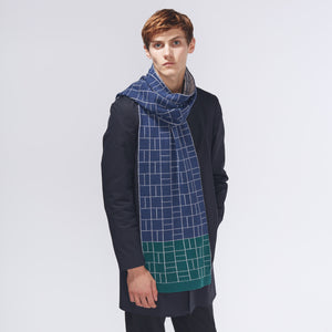 BLOCK SCARF - NAVY