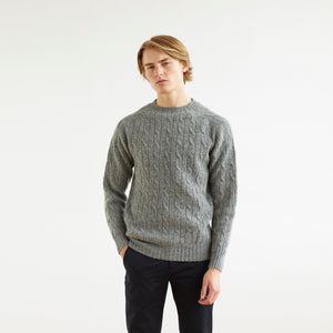 CABLE SWEATER - GREY