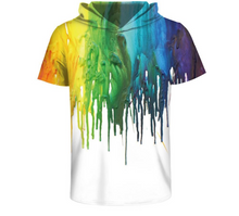 Colourful Hoodie with Paint Dripping Rainbow Design