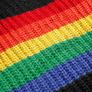 Winter Knitted Sweater with Big Rainbow Design