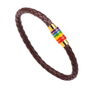 Free Magnetic Rainbow Leather Bracelet!