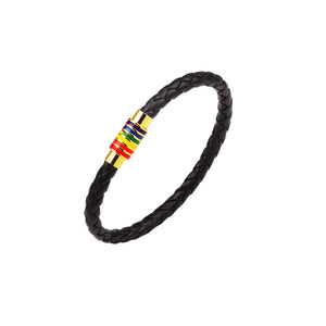 Cool Magnetic Rainbow Pride Leather Bracelet
