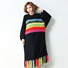 Rainbow Knitted Loose Dress with Tassels