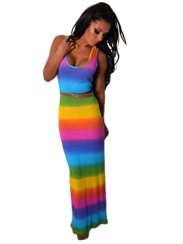 Floor Length Rainbow Maxi Dress