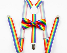 Rainbow Adjustable Belt Braces/Suspenders & Bow Tie Set