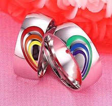 Beautiful Matching LGBT Couple Rainbow Rings