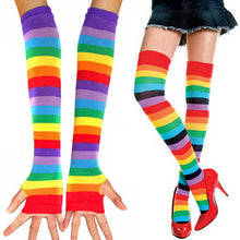 Colourful Striped Rainbow Knitted Stockings & Fingerless Gloves - FREE SHIPPING