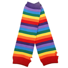 Colourful Striped Rainbow Knitted Stockings & Fingerless Gloves