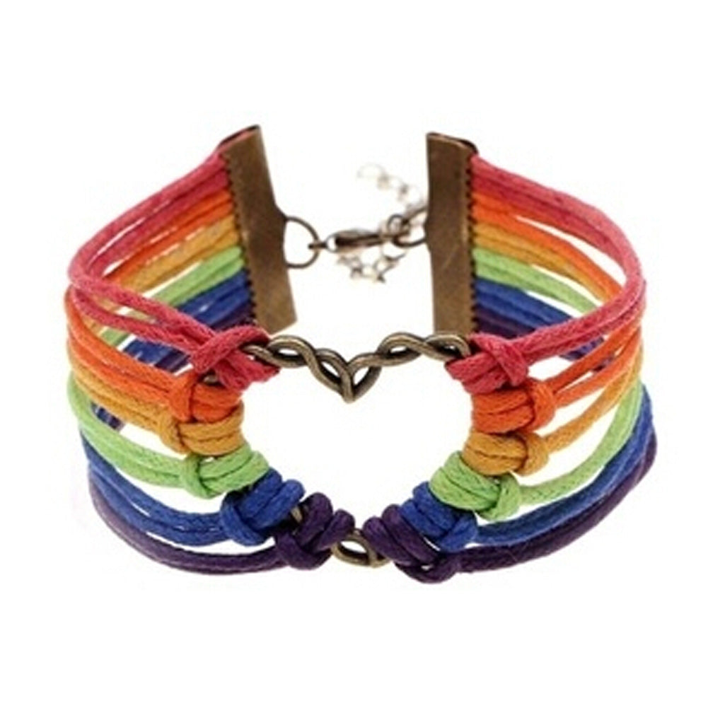 Rainbow Charm Heart Braided Bracelet