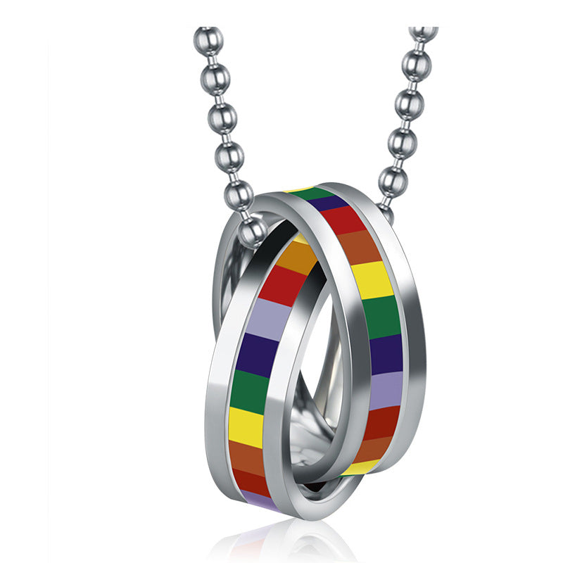 Rainbow Stainless Steel Interlocking Rings LGBT Necklace