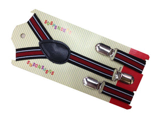 Rainbow Clip-On Striped Suspenders/Braces
