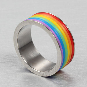 Rainbow Stainless Steel Rings for Women and Men