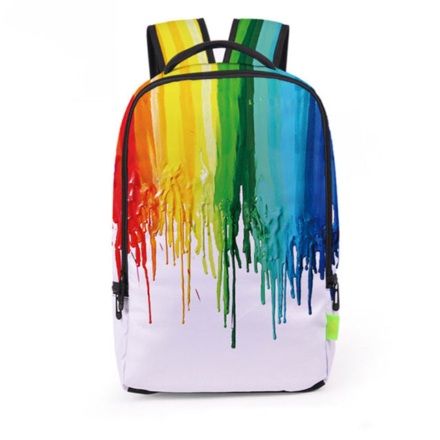 Stylish Rainbow Paint Backpack with Laptop Compartment