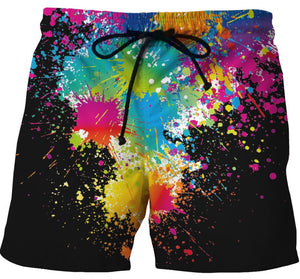 Running Shorts with Fun Splash Rainbow Colour Design