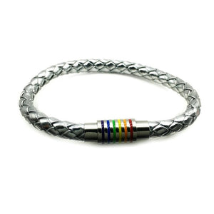 Silver & Leather Magnetic Rainbow Bracelet