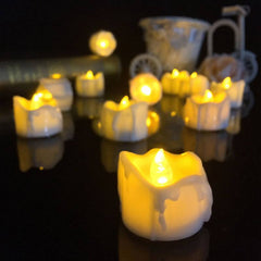 Yellow Flicker Battery Candles  Flameless Tea Lights For  Halloween  Decoration