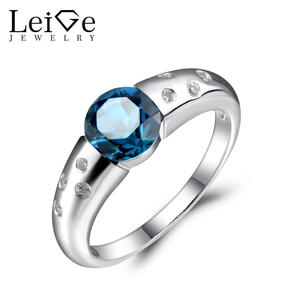 Leige Jewelry London Blue Topaz Ringe Sterling Silver 925